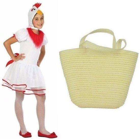 Paaskip verkleedpak maat 128 (7-8 jaar) met mandje voor meisjes - Kip/haan kostuum