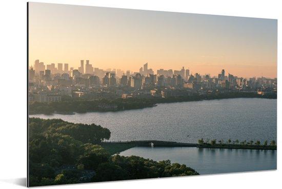Skyline Hangzhou Aluminium 180x120 cm - Foto print op Aluminium (metaal wanddecoratie) XXL / Groot formaat!