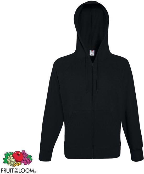 Fruit of the Loom hoodie vest met rits lichtgewicht maat M (zwart)