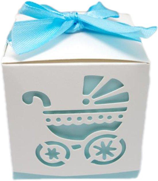 Geschenkdoosjes set van 5 | kinderwagen blauw | babyshower | kraamgeschenk | traktatie | doopsuiker