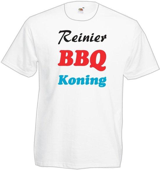 Mijncadeautje T-shirt BBQ Koning met voornaam  Heren WIT (maat XXL)
