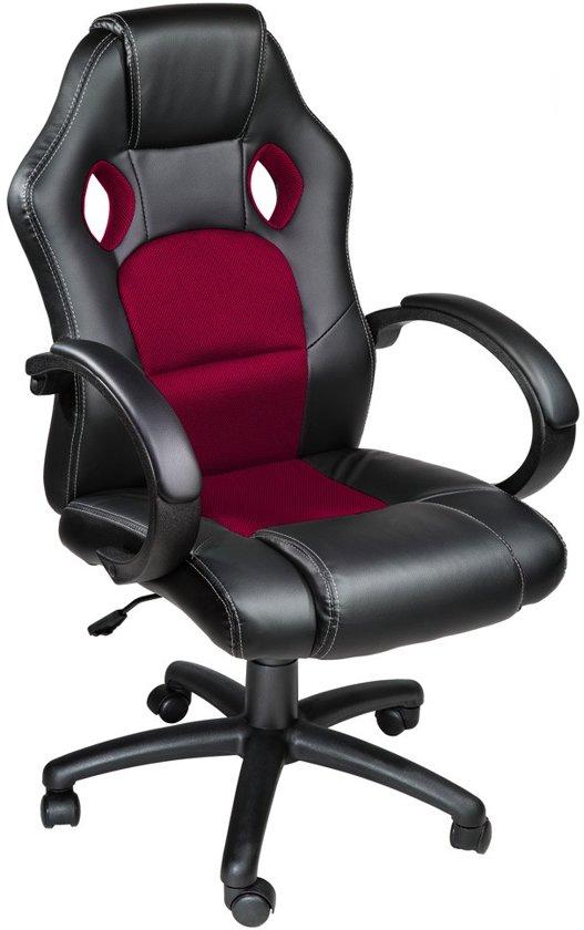 Tectake Luxe design bureaustoel - Racing style - Donkerrood/zwart