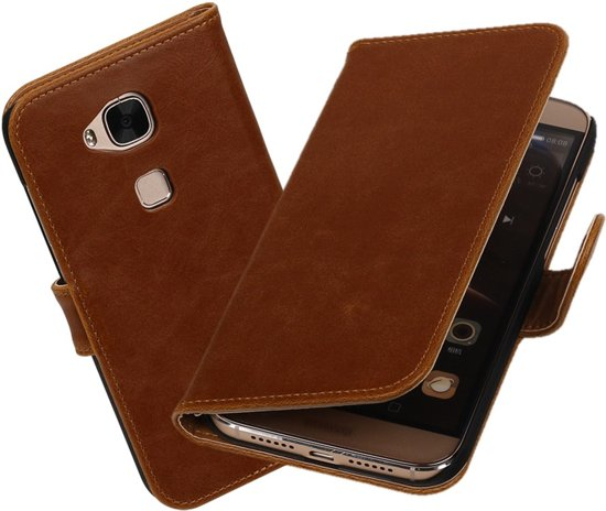 MiniPrijzen - Bruin Vintage lederlook Hoesje voor mobiele telefoon Huawei G8 Book Case - Flip Cover - Wallet Case in Sart-en-Fagne