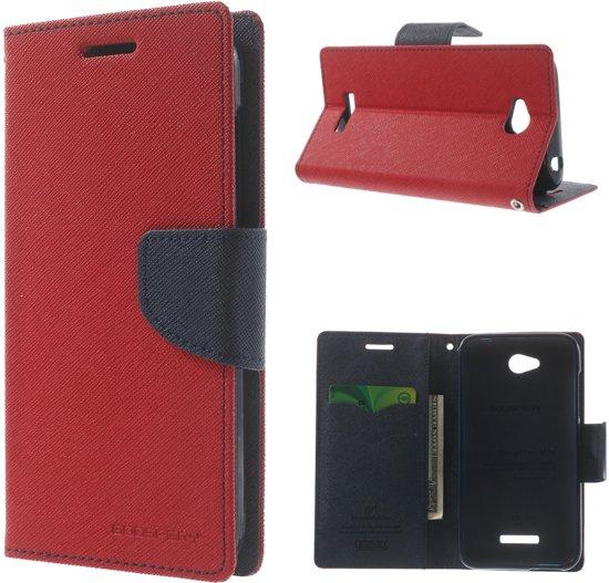 HTC Desire 616 Wallet Stand Case Hoesje Rood/Donkerblauw in Le Roeulx