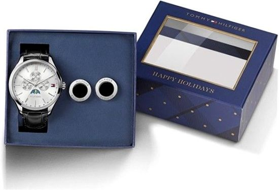 Tommy Hilfiger TH1770014 Horloge - Leer - Zwart - 42 mm