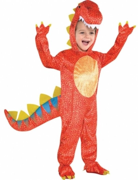Rood dinosaurus kostuum voor kids 4-6 jaar (104-116)