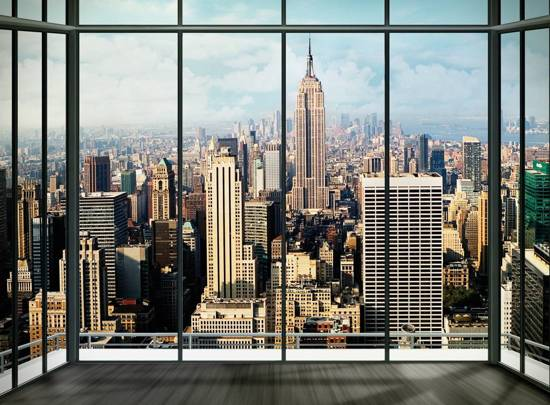 Muurposters New York.New York Window Fotobehang 232 X 315 Cm Multi