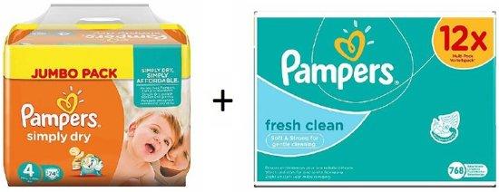 Pampers Simply Dry maat 4 222 stuks + Pampers Fresh billendoekjes 12st