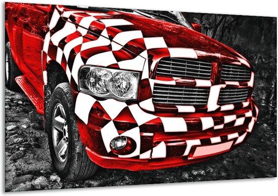 Glas schilderij Auto, Dodge | Rood, Zwart | 120x70cm 1Luik | Foto print op Glas |  F007000