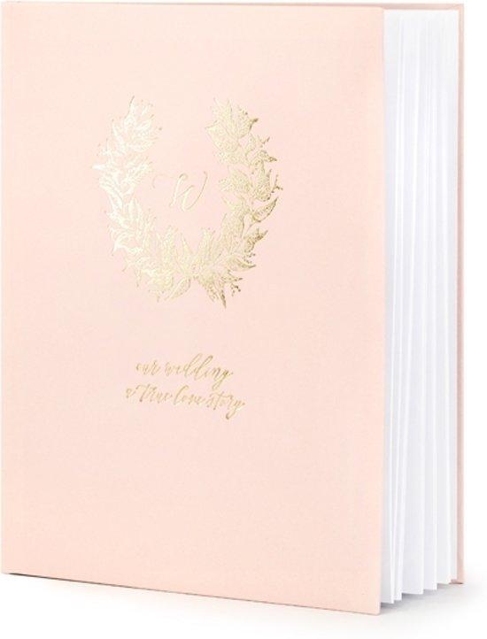 Partydeco Gastenboek Love story - roze/wit