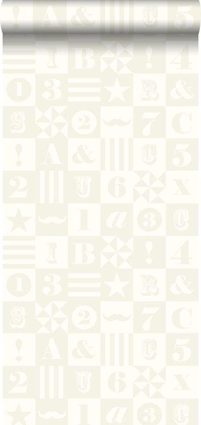 krijtverf vliesbehang blokken glanzend wit - 128714 van ESTAhome nl