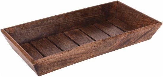 Donker houten dienblad rechthoek 39 x 20 x 6 cm