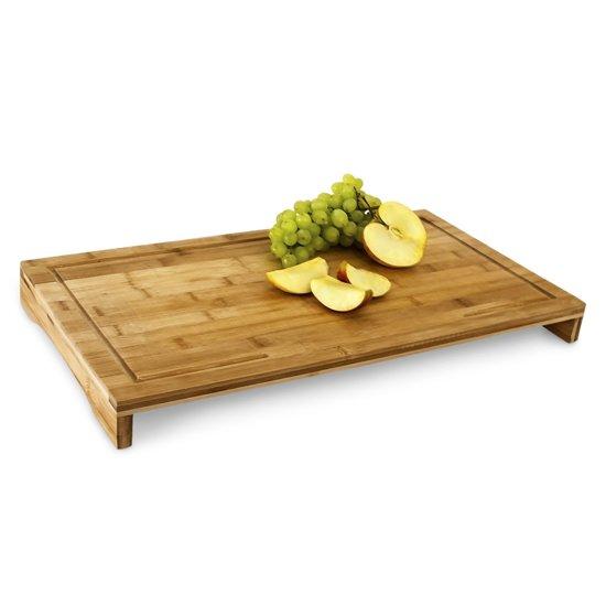 relaxdays snijplank / afdekplaat bamboe hout - Met saprand - 52x29 cm snij plank