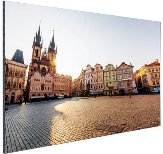 Oude Stadsplein Praag Aluminium 60x40 cm - Foto print op Aluminium (metaal wanddecoratie)