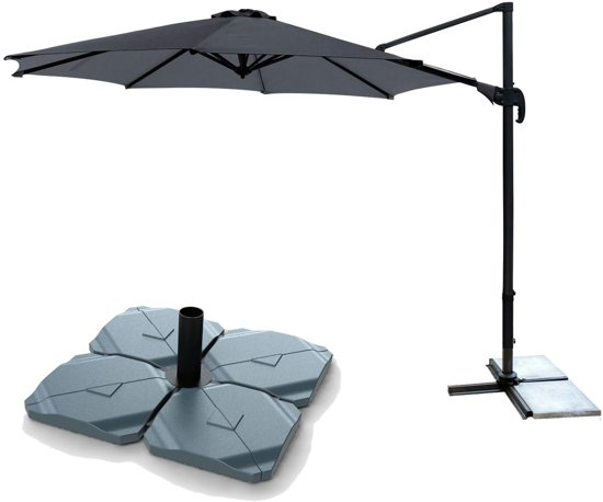 Parasolvoet Voor Zwevende Parasol.Kopu Zweefparasol Vigo Met Parasolvoet 300 Cm Rond Antraciet