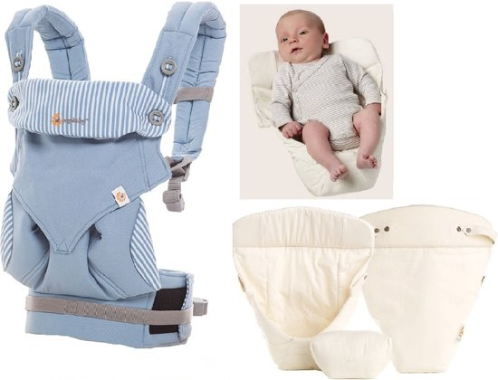 Ergobaby Geboortepakket: babydraagzak 360 Azure blue incl. verkleinkussen Original natural