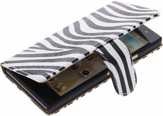 Alternate Bookcase Zebra Flip Cover Hoesje Huawei Ascend Y600 in Endepoel