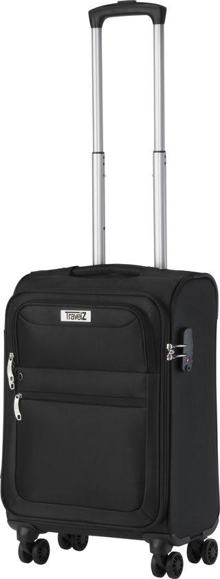 Travelz - Softspinner Handbagage koffer - Trolley 55 cm volledig gevoerde reiskoffer - Zwart