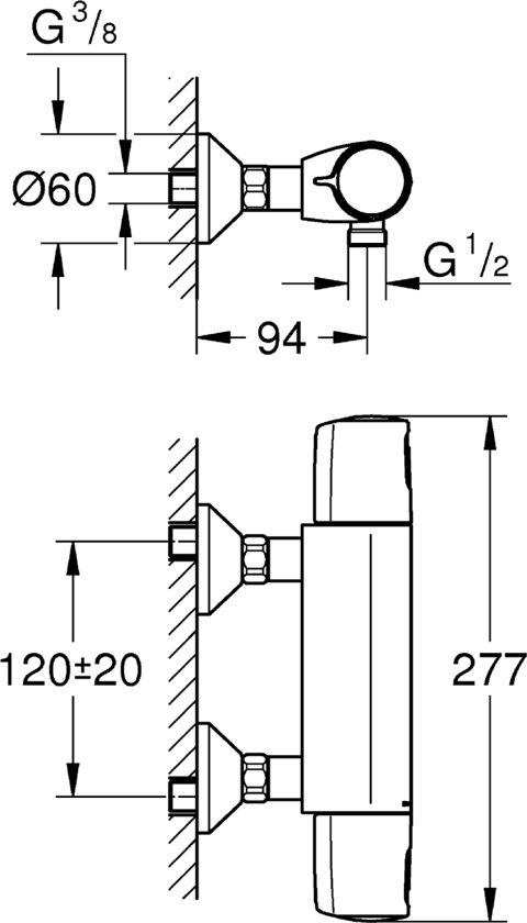 Genoeg bol.com | GROHE Precision Trend New Thermostatische Douchekraan XW63
