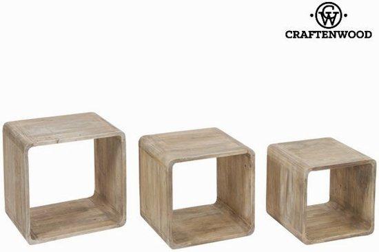 Kast Houten Kubussen : Bol.com set van 3 houten kubussen pure life collectie by craften