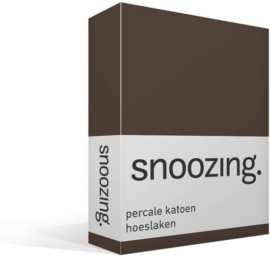 Snoozing - Hoeslaken  - Lits-jumeaux - 160x220 cm - Percale katoen - Bruin