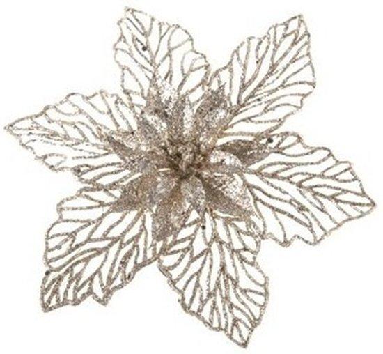 1x Kerstboomversiering op clip champagne glitter bloem 17 cm - Champagne kerstversieringen