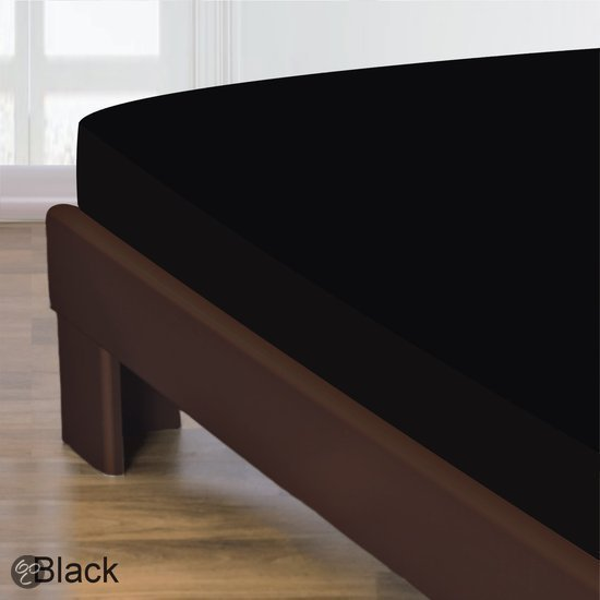 Homéé - Hoeslaken Gladde Katoen - Zwart - 180x220 + 40cm | Homéé