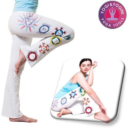 Yoga handgeschilderde Chakra broek - Katoen - Wit - Maat L