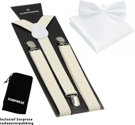 Bretels inclusief vlinderdas en pochette - Wit - Sorprese - met stevige clip - bretels - vlinderdas – strik – strikje – pochet - luxe - unisex - heren - giftset