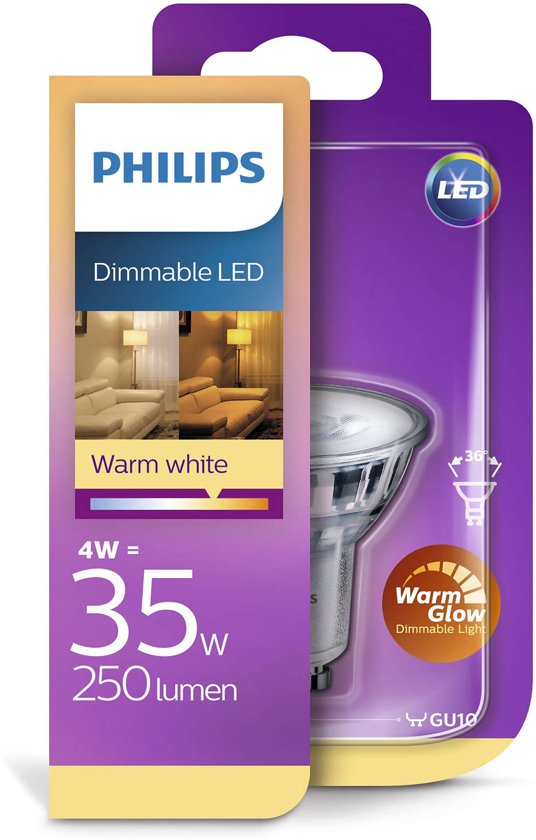 Philips LED-lamp spot 4,2W GU10 dimbaar