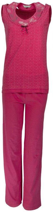Dames pyjama mouwloze dubbel look top van 100 % katoen. Maat L