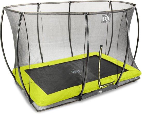 EXIT Silhouette inground trampoline 244x366cm met veiligheidsnet - groen