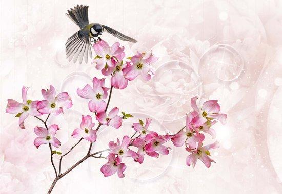 Fotobehang Flowers Bird | XL - 208cm x 146cm | 130g/m2 Vlies