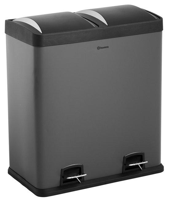 homra neviq 2x30l duo prullenbak afvalemmer 60 liter afvalscheiding antraciet. Black Bedroom Furniture Sets. Home Design Ideas