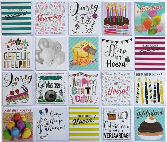 Verjaardagskaarten  Van Harte Gefeliciteerd   12 x 11 cm  Set van 20  L 120