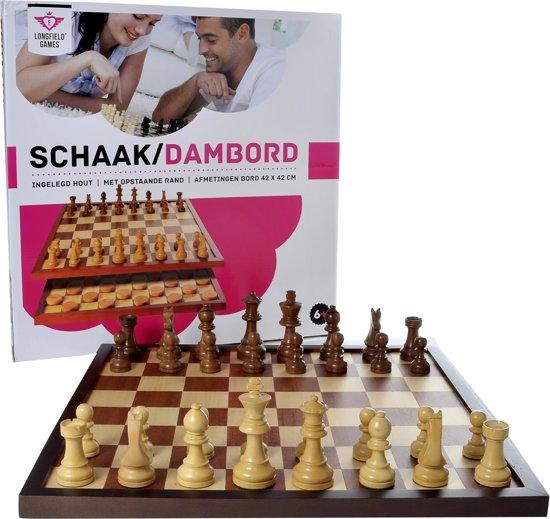 Longfield Games Schaak/Dambord In Doos - Hout