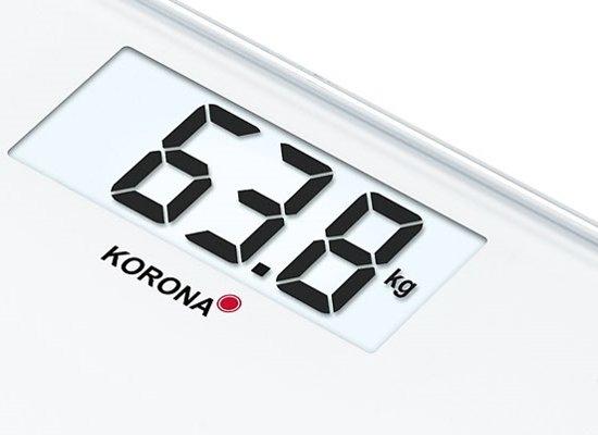 Korona Gwen - digitale glazen personenweegschaal met groot LCD scherm