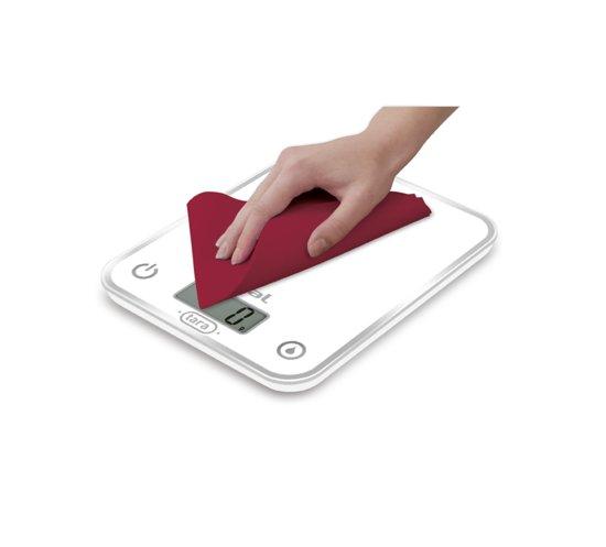Balance de cuisine électronique - Optiss - 5Kg- Precision 1 g (0-1Kg) puis 5 g - silver - Ultra plate