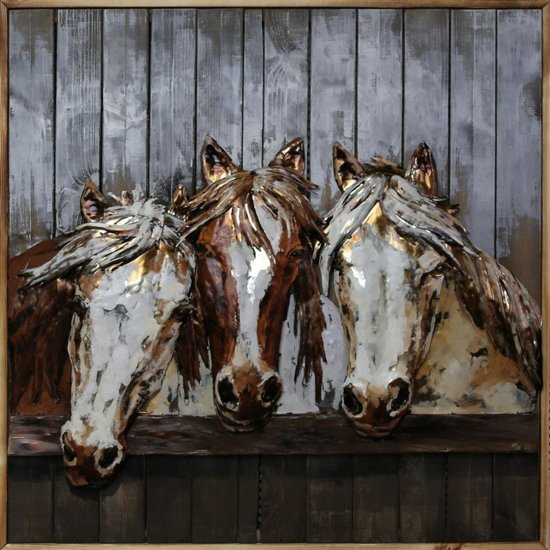 3d Schilderij Metaal.3d Schilderij Metaal Op Hout Paarden