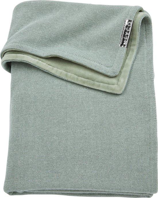 Meyco Knit Basic Deluxe wiegdeken - 75x100 cm - stone green