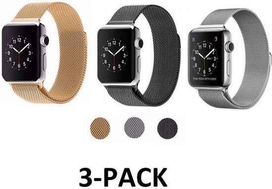 Milanese Loop Armband Voor Apple Watch Series 1 / 2 / 3 42 MM Iwatch Metalen Milanees Horloge Band - 3-Pack