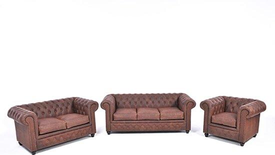 Leren Bankstel 3 2 1 Zits.The Chesterfield Brand Vintage 3 2 1 Zits Vintage Bruin