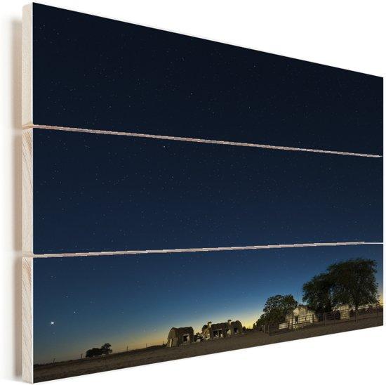Nachtlandschap van het Nationaal park Doñana Vurenhout met planken 160x120 cm - Foto print op Hout (Wanddecoratie) XXL / Groot formaat!