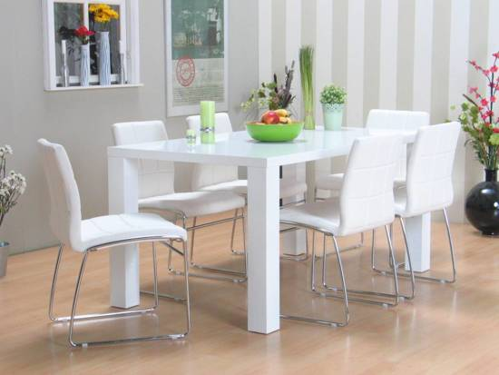 Paya cube eethoek met 6 stoelen 90x160 cm wit - Tafel en witte stoelen ...