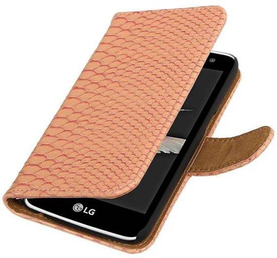 LG K10 Hoesje Slang Bookstyle Licht Roze