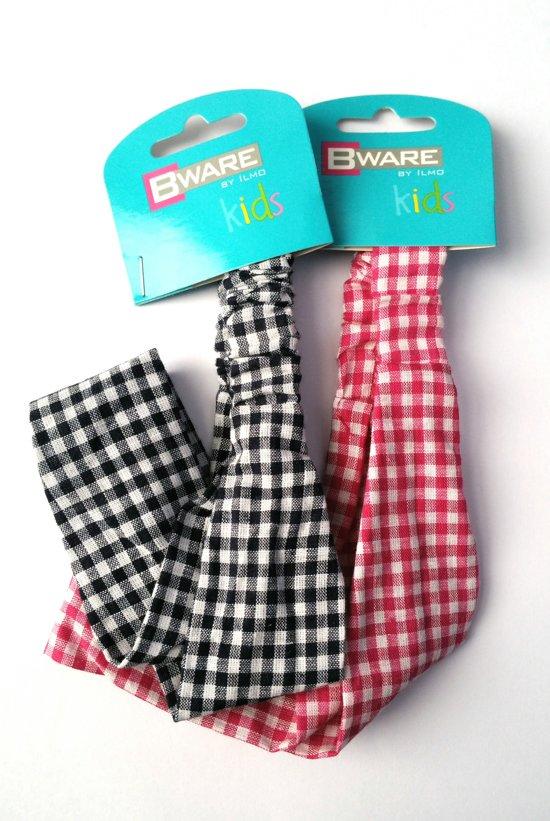 Bware Kids Haarband ruitjes Zwart of Roze