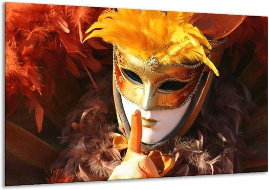 Glasschilderij Masker | Geel, Oranje, Wit | 120x70cm 1Luik | Foto print op Glas |  F000709