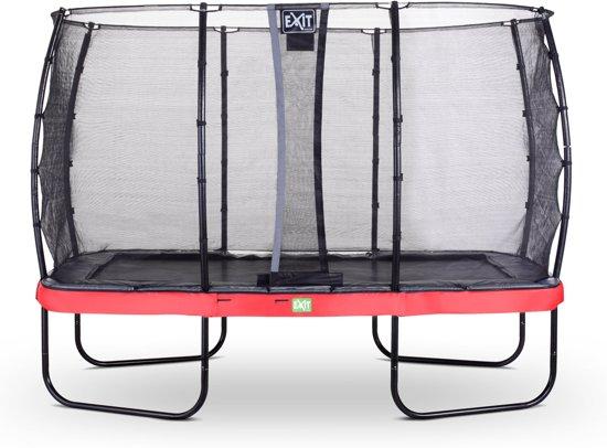 EXIT Elegant Premium trampoline 244x427cm met veiligheidsnet Deluxe - rood