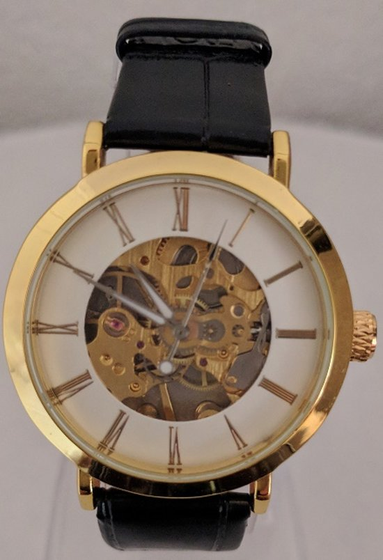 Goer Unisex Horloge Kast Goud Band Zwart 38mm Productvideo