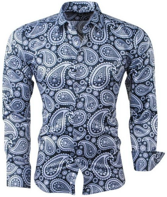 Overhemd Zwart Wit.Bol Com Pradz Heren Overhemd Paisley Zwart Wit